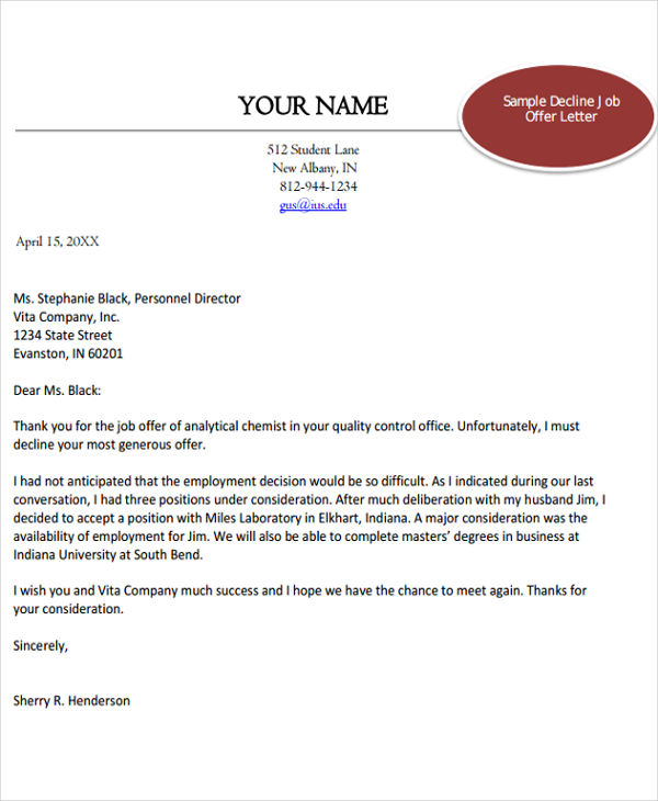 40 offer letter examples job offer rejection letter spiritdancerdesigns Gallery