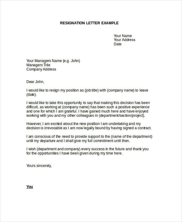 Formal Resignation Letter. Job Resignation Sample