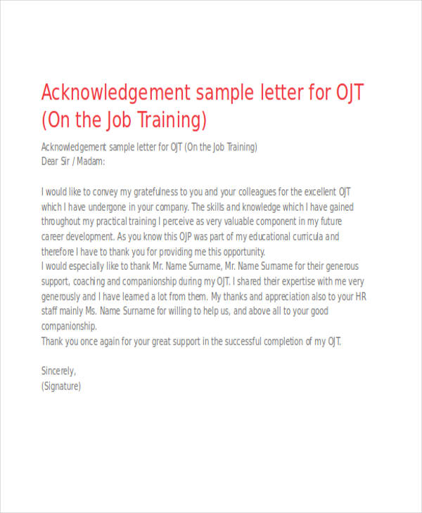 41 acknowledgement letter examples samples job training acknowledgement letter yadclub Image collections