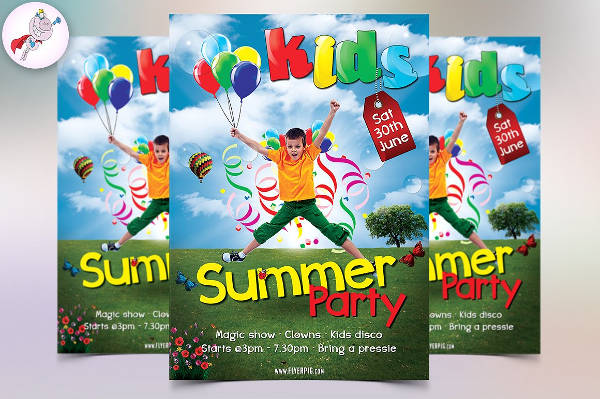 kid summer party flyer