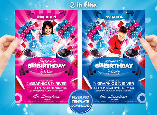 kids birthday invitation flyer