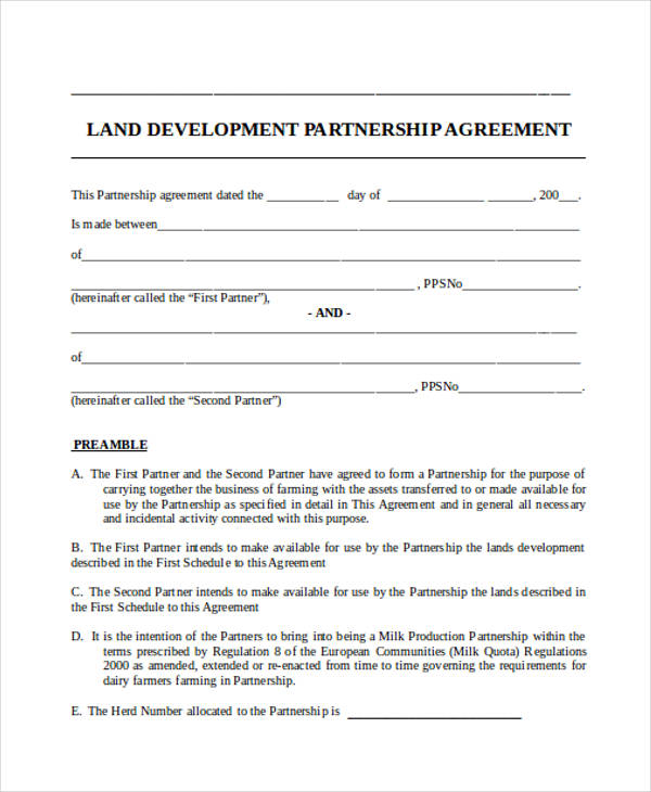 land development partnership agreement