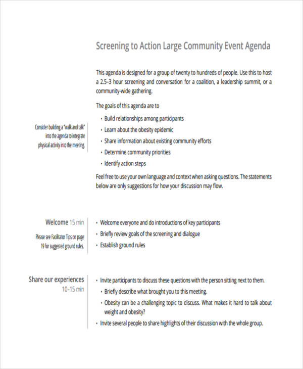 large community event agenda