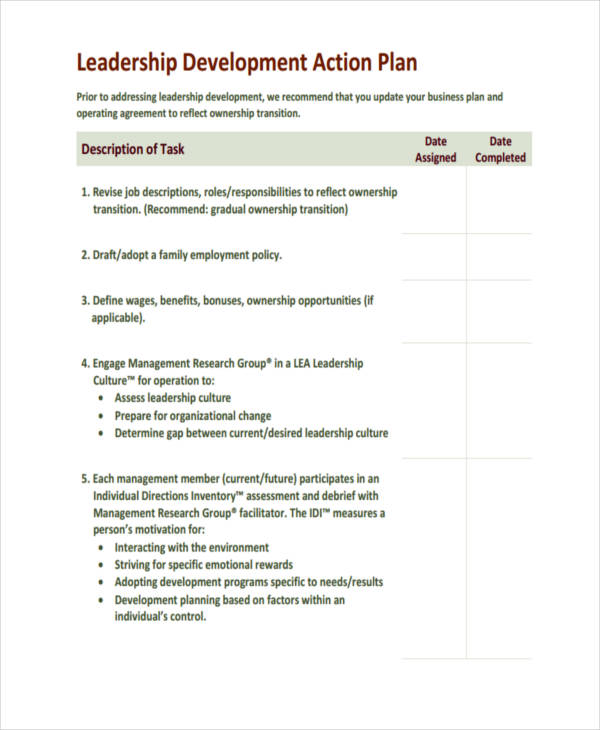 Leadership Development Action Plan  Individual Action Plan Template