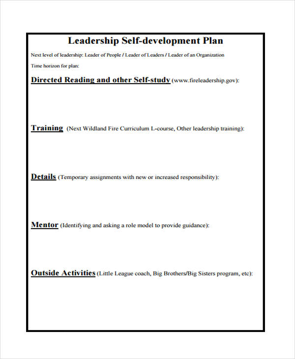 leadership self development plan