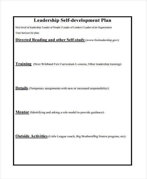 leadership self development plan