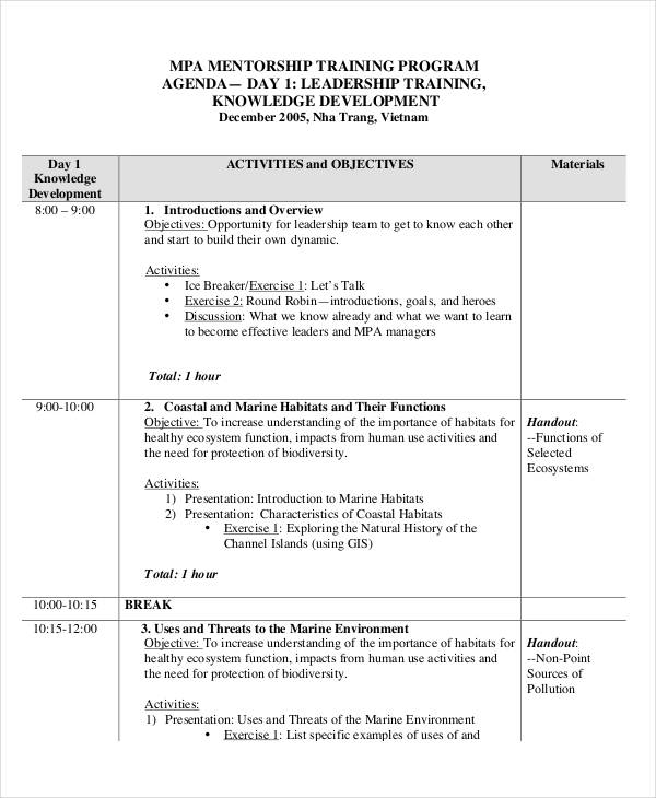 leadership training program agenda