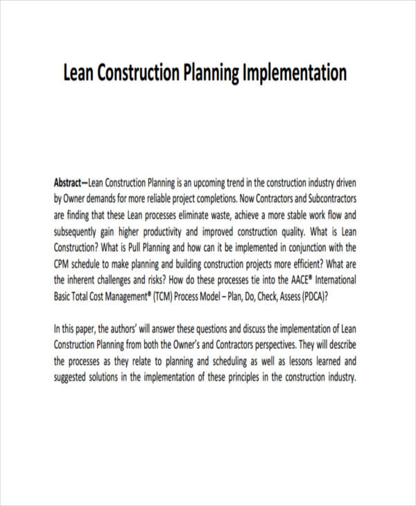 lean construction implementation plan