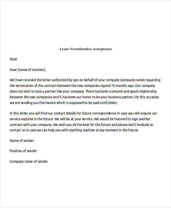 lease termination acceptance