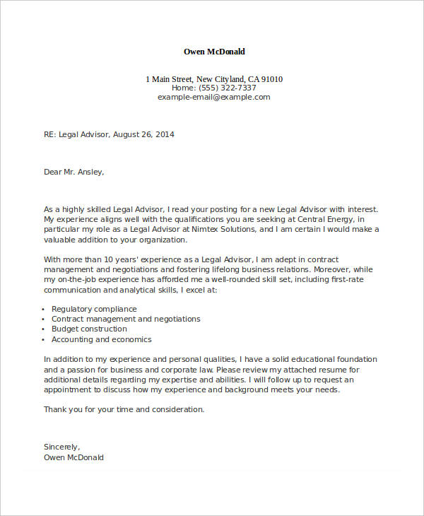 Legal Advisor Appointment Letter Format  Job Experience Examples