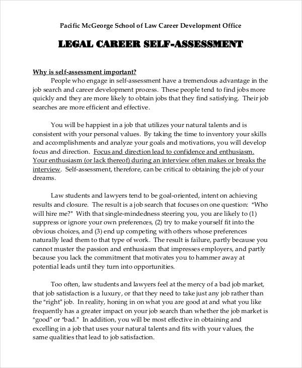 legal career self assessment