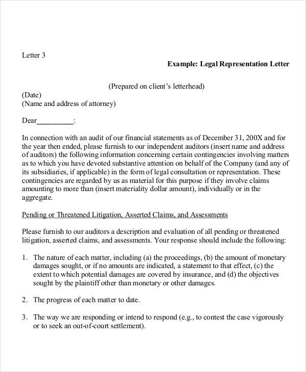 legal representative letter