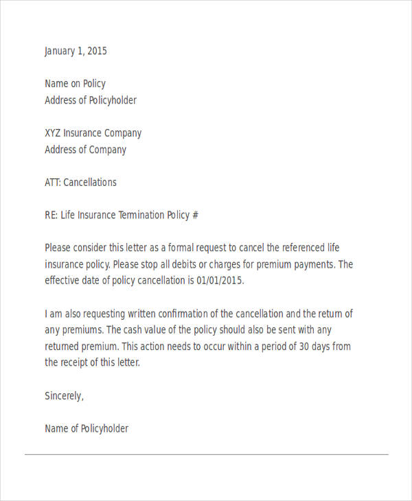 53 termination letter examples samples pdf doc life insurance termination letter spiritdancerdesigns Image collections