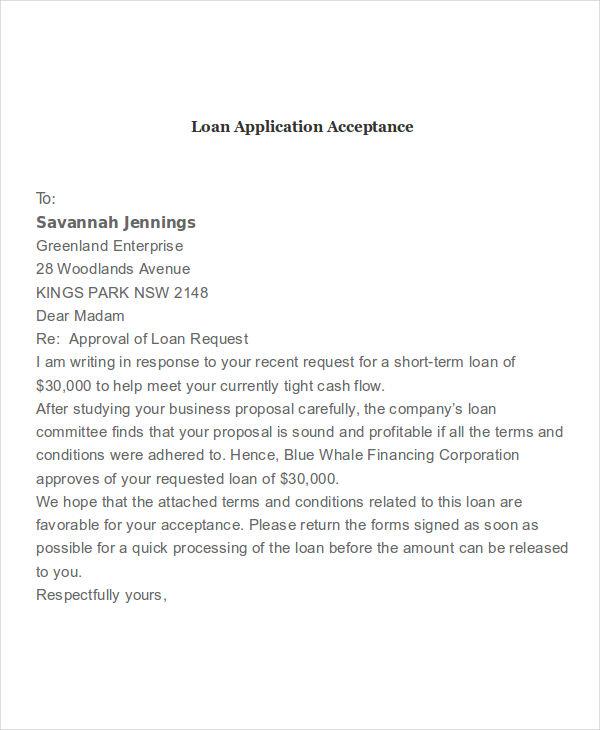 loan application acceptance