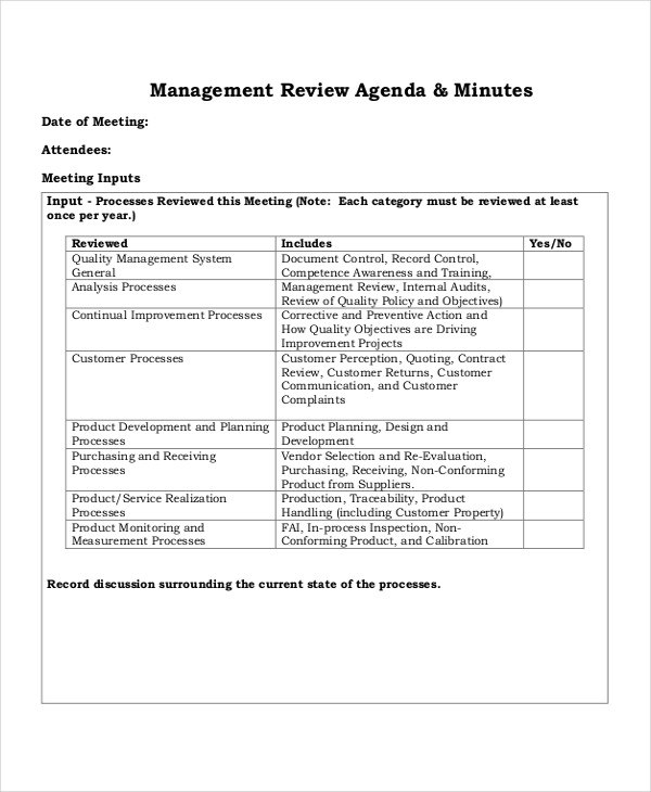 management review meeting agenda