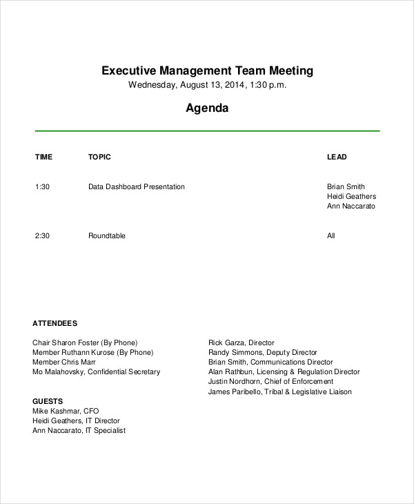 Executive Management Team Meeting Agenda  Management Meeting Agenda Template