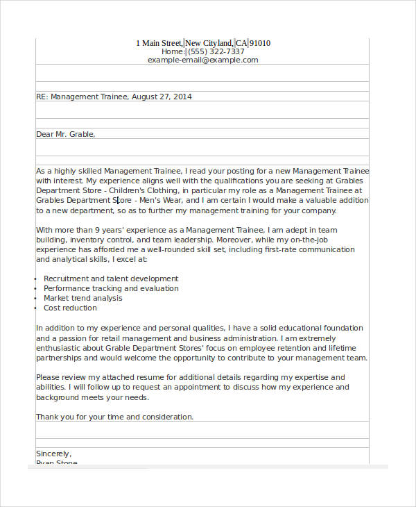 management trainee appointment letter sample