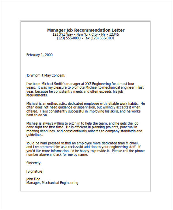 manager job recommendation letter