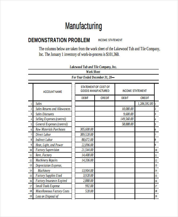 manufacturing business income statement
