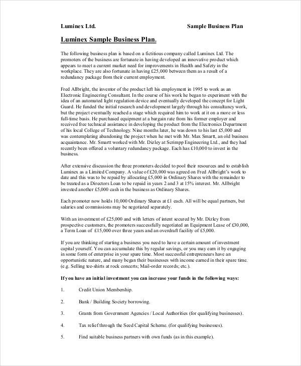 Business Proposal Examples Samples PDF DOC - How to draft a business plan template