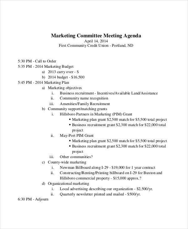 59  meeting agenda examples  u0026 samples