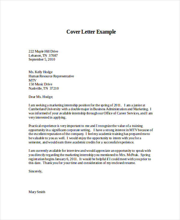 marketing internship application letter - Application Letter Cover