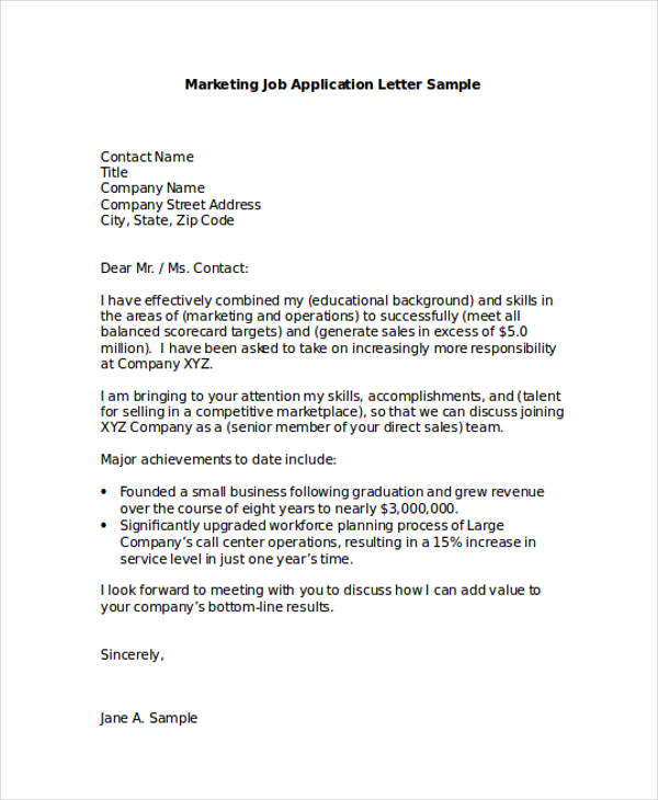 46 application letter examples samples