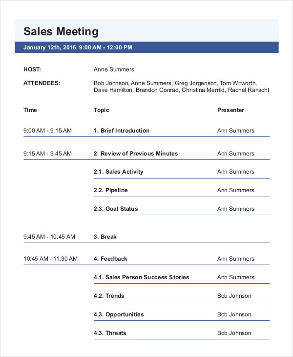 marketing sales meeting agenda