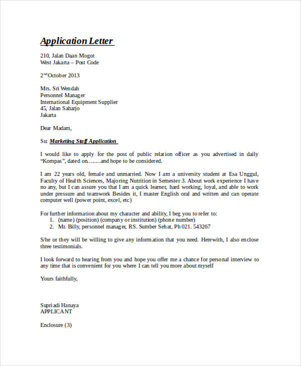 marketing staff application letter