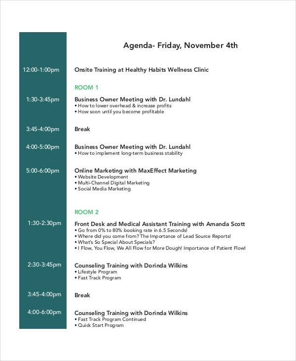 Training Agenda Template General Operational And Safety Training