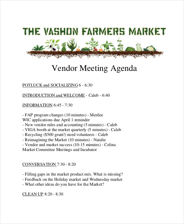 marketing vendor meeting agenda