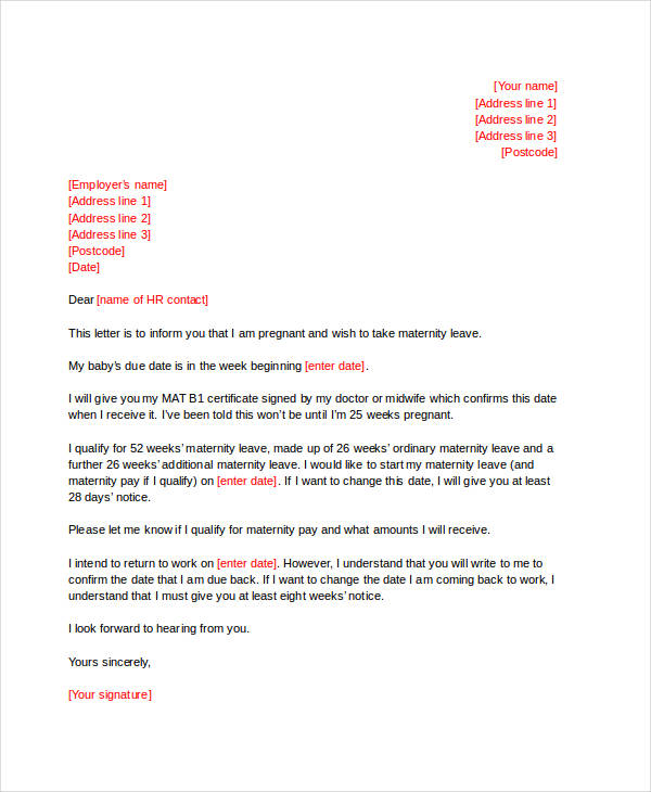 48 formal letter examples and samples pdf doc maternity leave sample spiritdancerdesigns Image collections