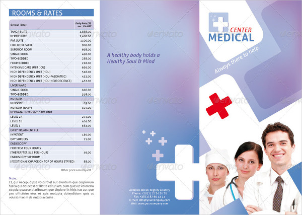 medical center tri fold brochure