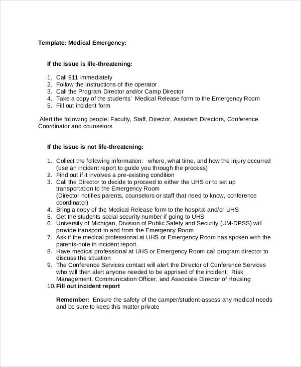 Medical Emergency Incident Report  Medical Incident Report Template