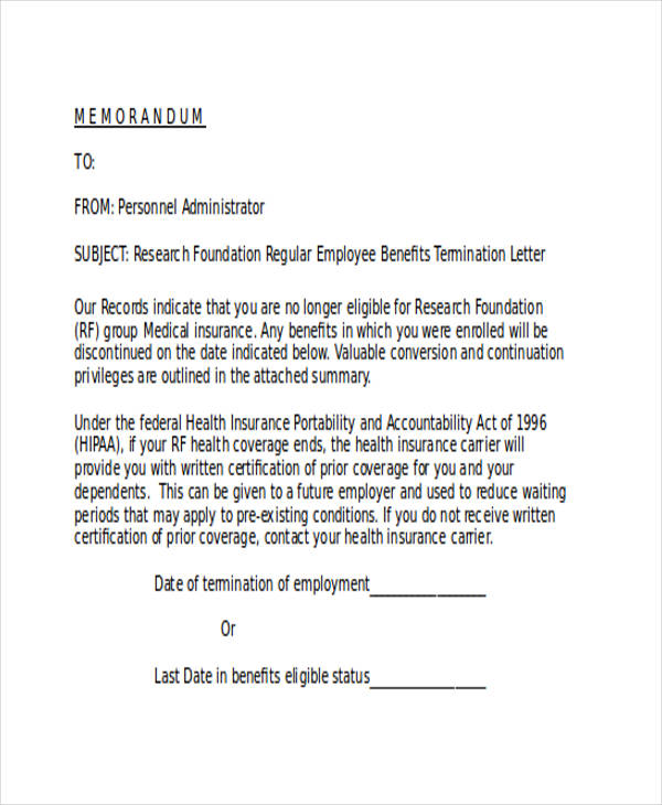 Medical Insurance Termination Letter  How To Write A Termination Letter To An Employee