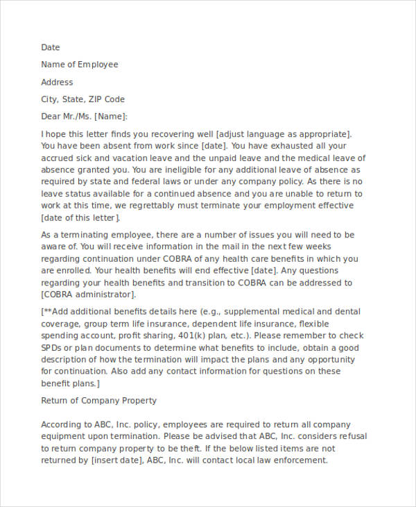 medical leave termination letter