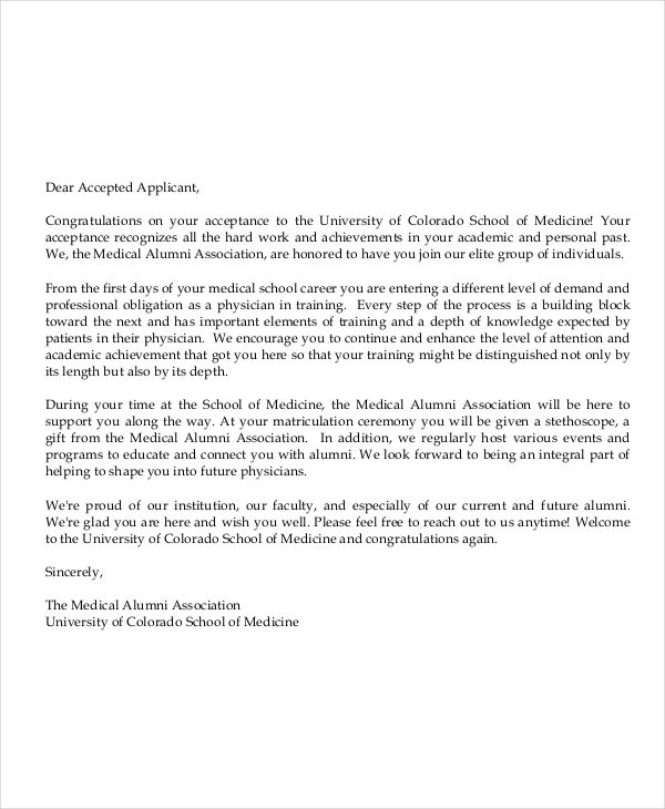 medical school letter example
