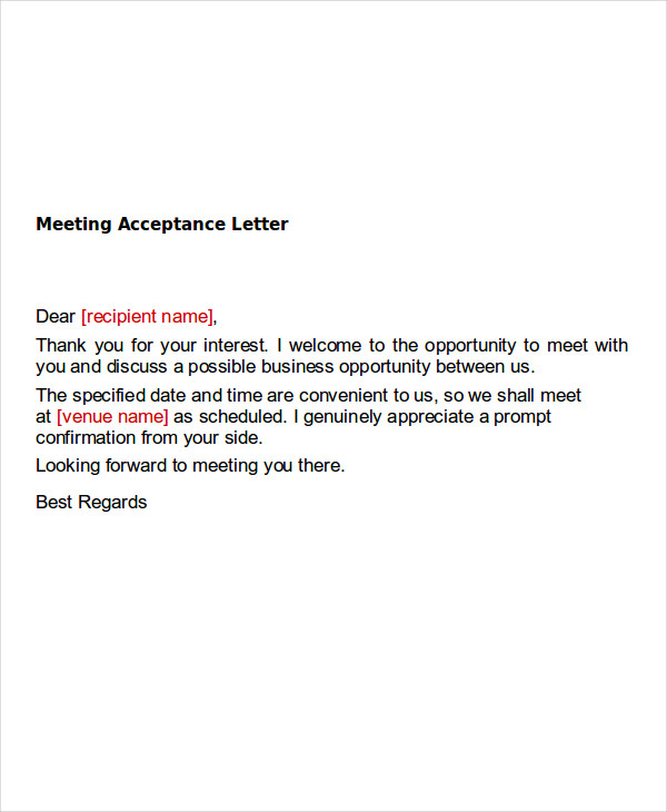 meeting appointment letter example
