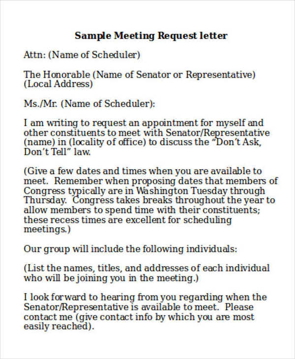 meeting request letter sample
