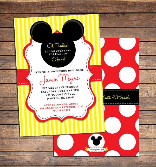 Mickey Mouse Girl Baby Shower Invitation