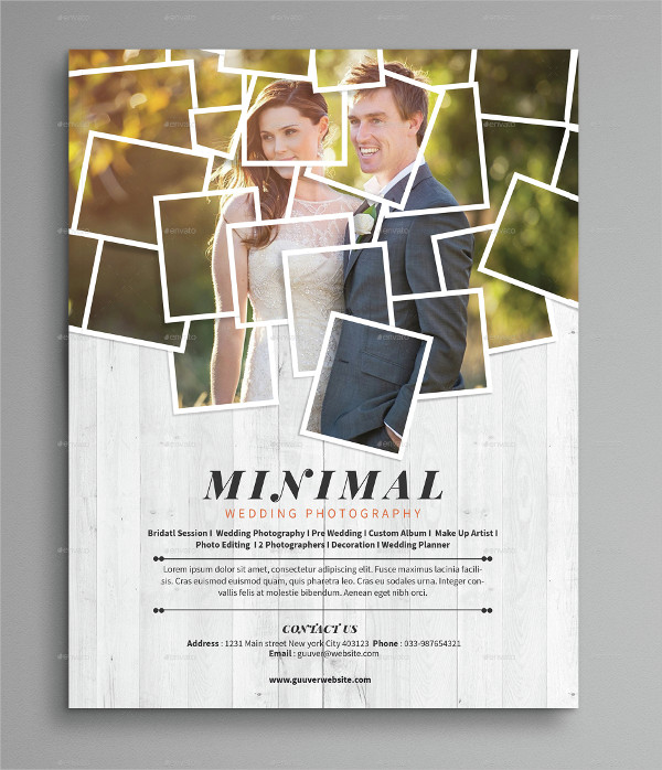 minimal wedding photography flyer