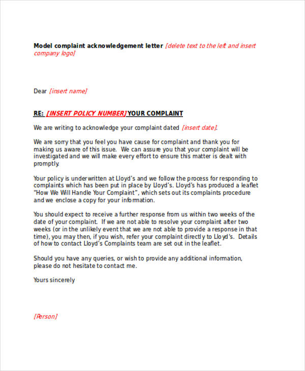 model complaint acknowledgement letter