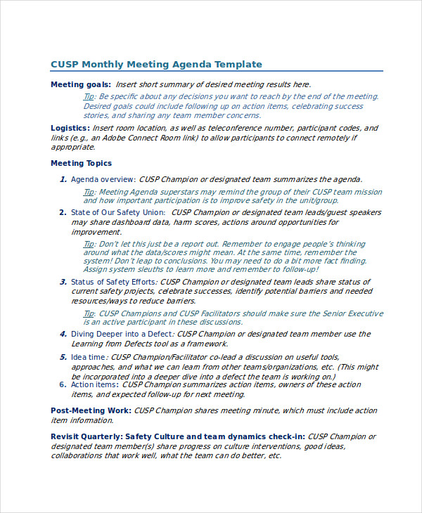Monthly Safety Meeting Agenda Template  Meeting Outline Template