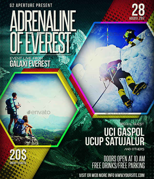 mountain adventure event flyer