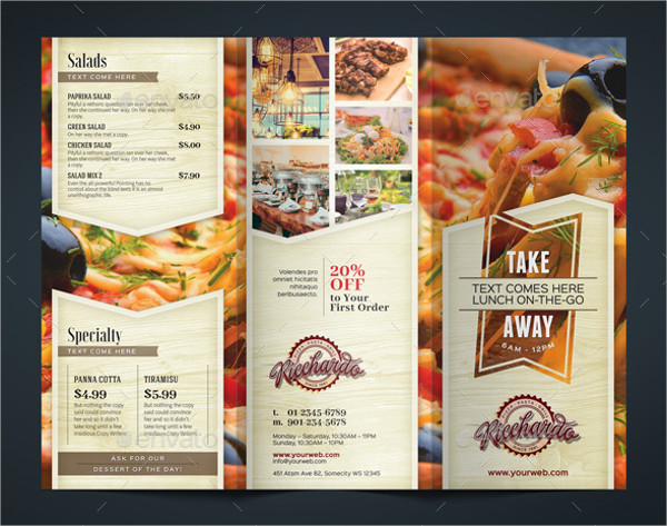 multipurpose restaurant tri fold brochure