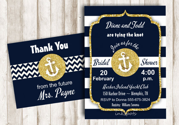 nautical themed bridal shower invitation