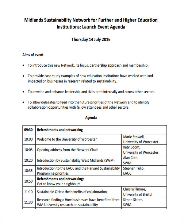 network launch event agenda