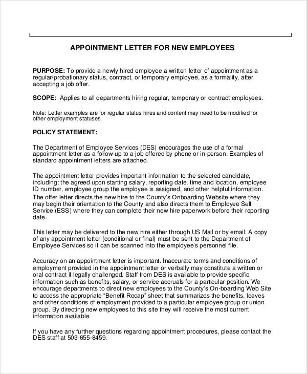new employee appointment letter