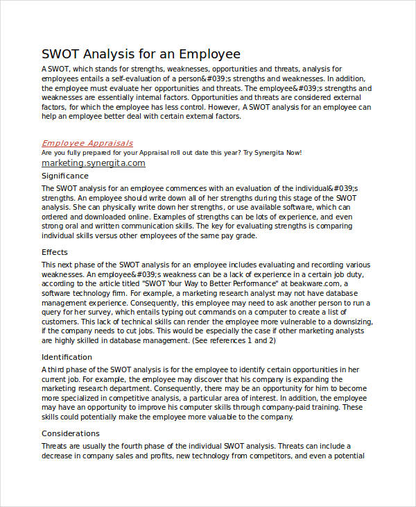 new employee swot analysis