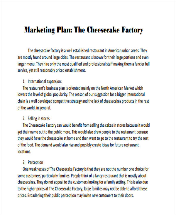 Marketing Plan Examples  Samples